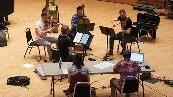 The Jack Quartet practicing at Duke